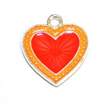 1pce x 22mm*20mm Orange enameled alloy star burst heart charms / pendants